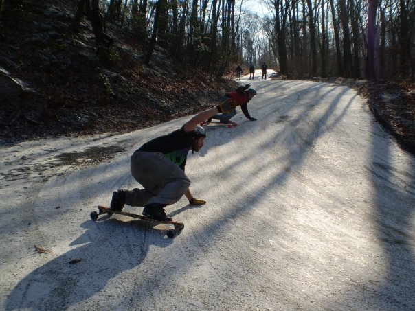 AJ Powell and Nick Harris shredding the snowy corner